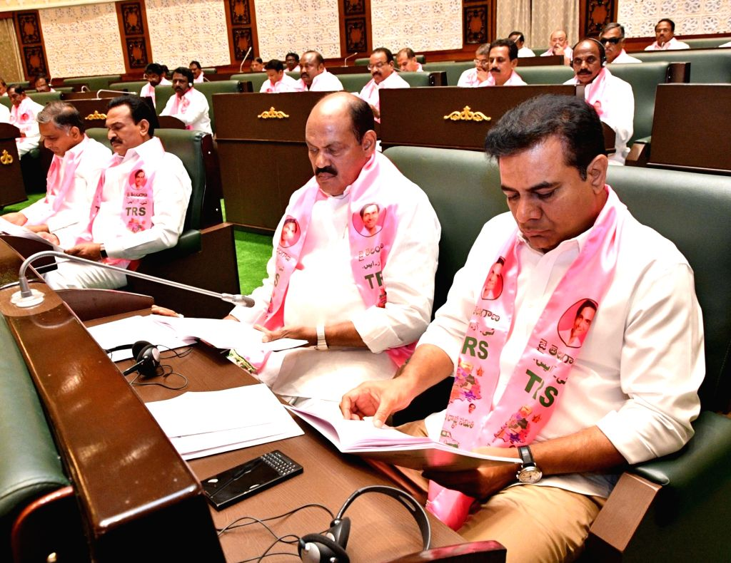 Telangana legislator K.T. Rama Rao and others during state assembly's budget session, in Hyderabad, on Feb 22, 2019. - T. Rama Rao