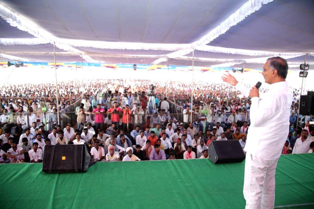 Telangana Minister and Telangana Rashtra Samithi (TRS) leader T. Harish Rao addresses during a public meeting in Siddipet on Oct 30, 2018. - T. Harish Rao