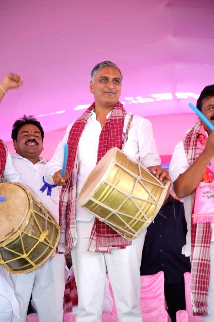 Telangana Minister and Telangana Rashtra Samithi (TRS) leader T. Harish Rao during a public meeting in Siddipet on Oct 30, 2018. - T. Harish Rao