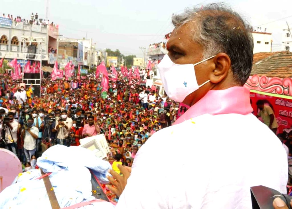 Telangana Minister and TRS leader T. Harish Rao campaigns for the Dubbaka Assembly bypoll, in Dubbaka on Oct 21, 2020. - T. Harish Rao