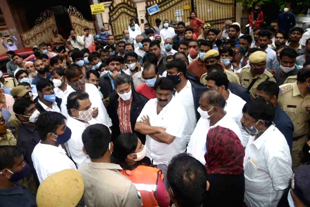 Telangana Minister KT Rama Rao and Hyderabad MP Asaduddin Owaisi visited the flood affected areas of Hyderabad and heard the grievances of people, on Oct 20, 2020. - K and Rao