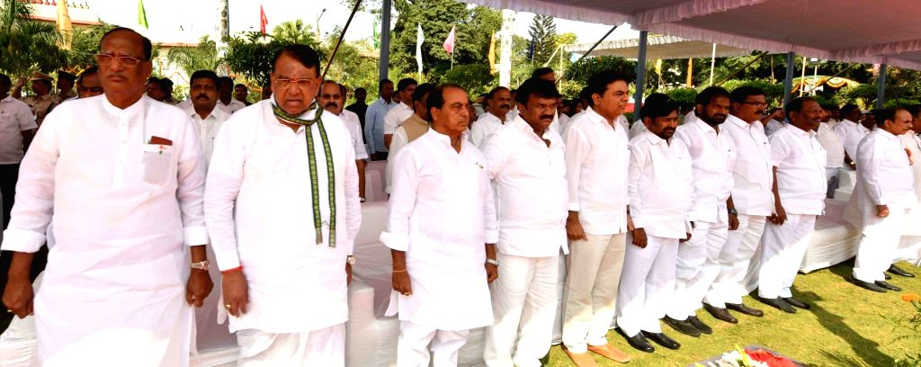 Telangana Minister KT Rama Rao and TRS leaders during the 71st Republic Day celebrations, at Public Garden Lawns in Hyderabad on Jan 26, 2020. - K and Rao