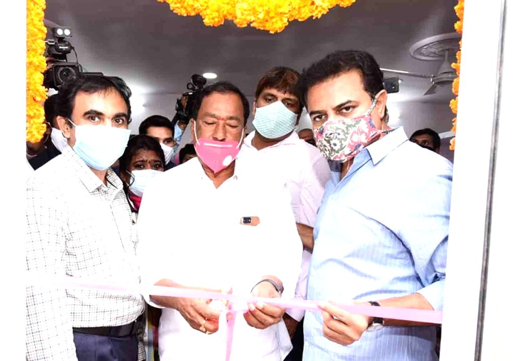 Telangana Minister KT Rama Rao at the inauguration of a Basthi Dawakhana in Ramreddy Nagar of Hyderabad on Aug 14, 2020. - K and Rao
