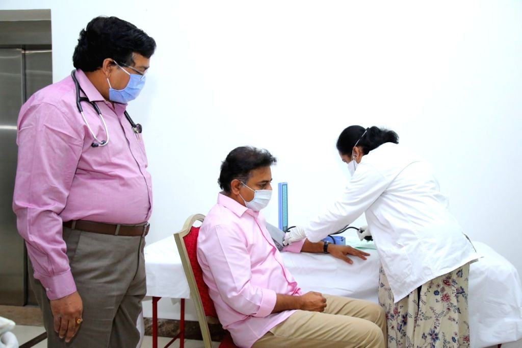 Telangana Minister KT Rama Rao donates his blood at Institute of Preventive Medicine, Hyderabad during the extended nationwide lockdown imposed to mitigate the spread of coronavirus; on ... - K and Rao
