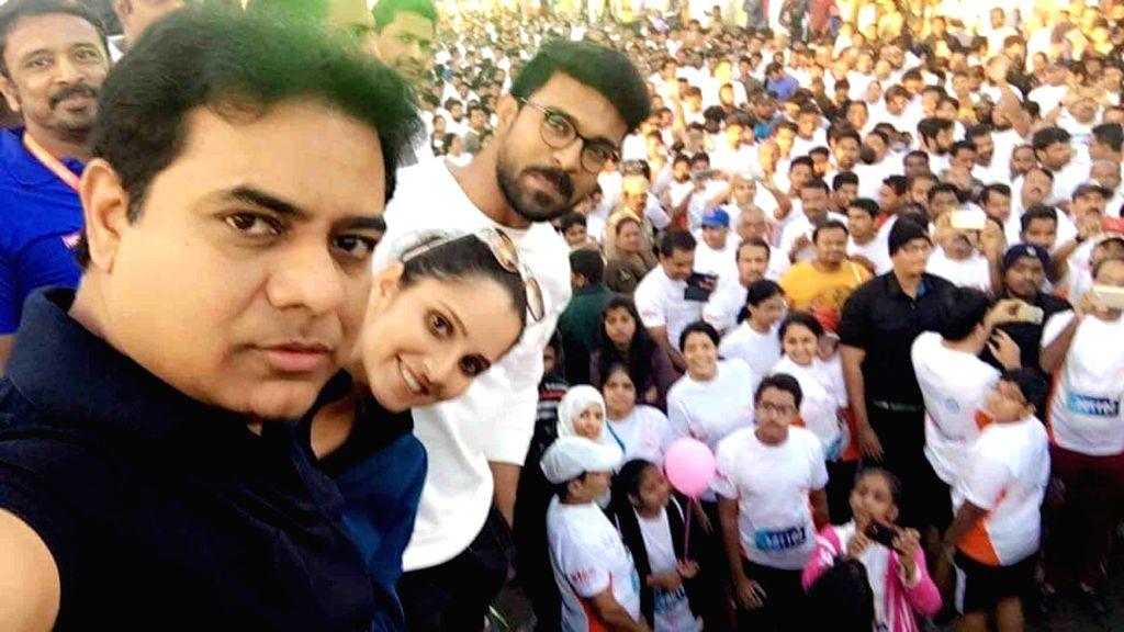 Telangana minister KT Rama Rao participates in 'Freedom 10K Run' in Hyderabad, on Nov 27, 2016. - K and Rao