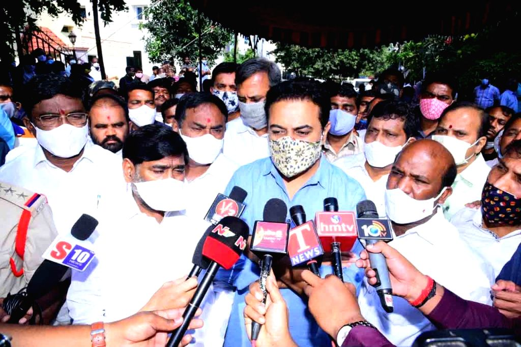 Telangana Minister KT Rama Rao talks to the media after paying tributes to TRS MLA Nomula Narasimhaiah of Nagarjuna Sagar assembly constituency who passed away in the wee hours of Dec 1, ... - K and Rao