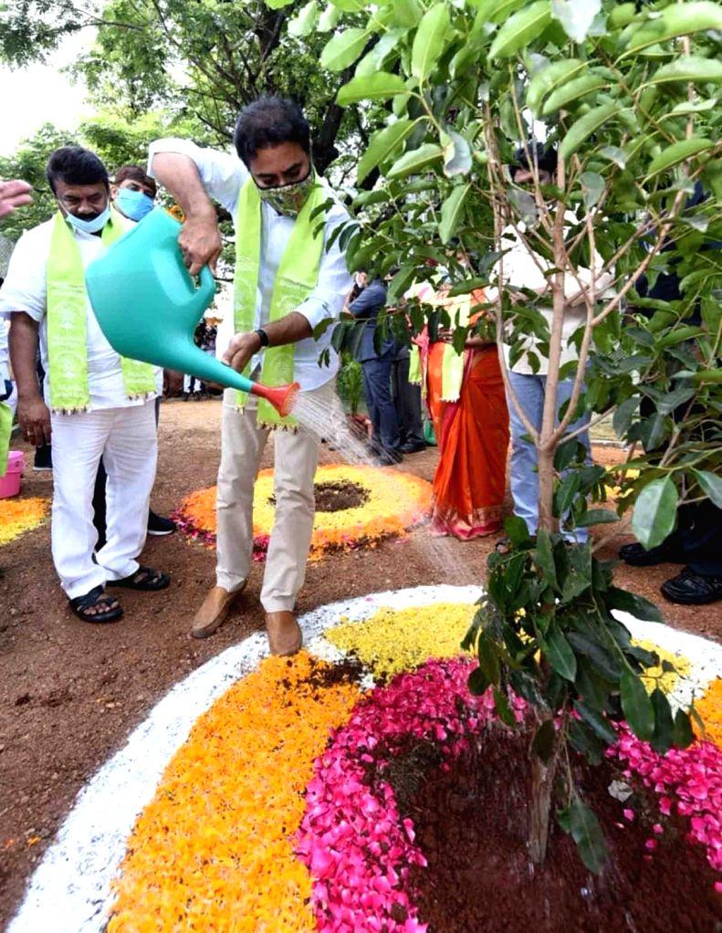 Telangana Municipal Administration and Urban Development Minister KT Rama Rao inaugurates the sixth phase of Telanganaku Haritha Haram programme today by planting a sapling at GHMC park in ... - K and Rao