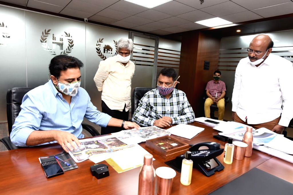 Telangana Municipal Administration and Urban Development Minister KT Rama Rao chairs a meeting to review the progress of ongoing infrastructure projects under Hyderabad Metropolitan ... - K and Rao