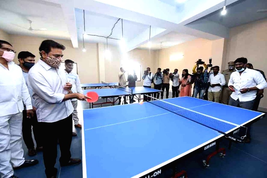 Telangana Municipal Administration and Urban Development Minister KT Rama Rao plays table tennis at the inauguration of a sports complex at Sanath nagar in Hyderabad on Nov 13, 2020, - K and Rao