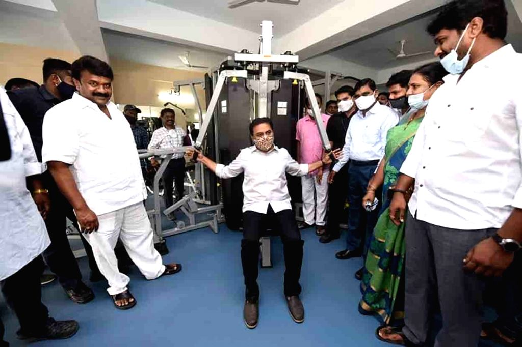 Telangana Municipal Administration and Urban Development Minister KT Rama Rao tries a gymming machine after inaugurating a sports complex at Sanath nagar in Hyderabad on Nov 13, 2020, - K and Rao