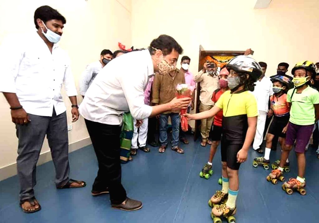 Telangana Municipal Administration and Urban Development Minister KT Rama Rao interacts with young skaters after inaugurating a sports complex at Sanath nagar in Hyderabad on Nov 13, 2020, - K and Rao