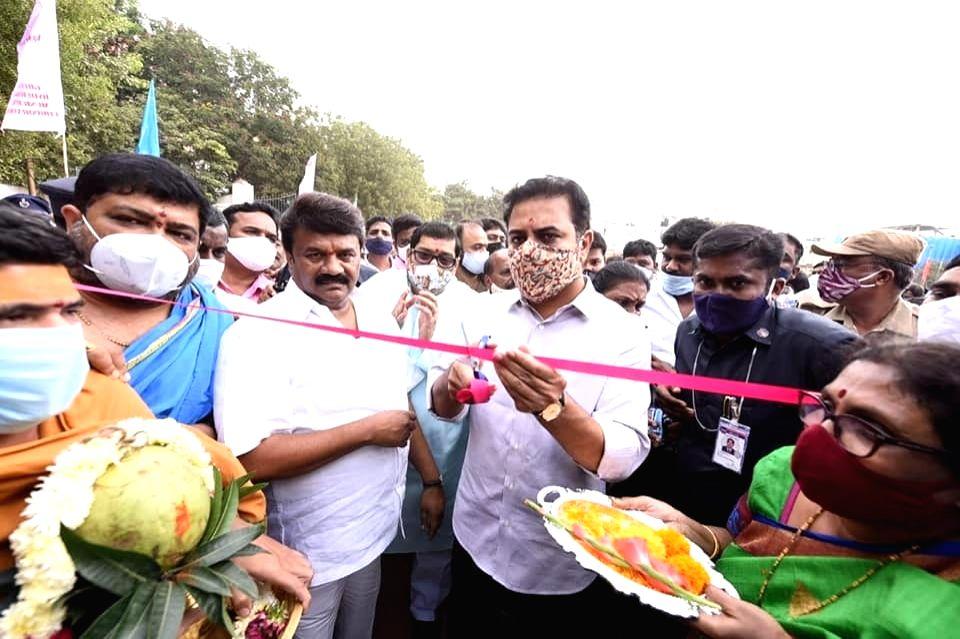 Telangana Municipal Administration and Urban Development Minister KT Rama Rao inaugurates a sports complex at Sanath nagar in Hyderabad on Nov 13, 2020, - K and Rao