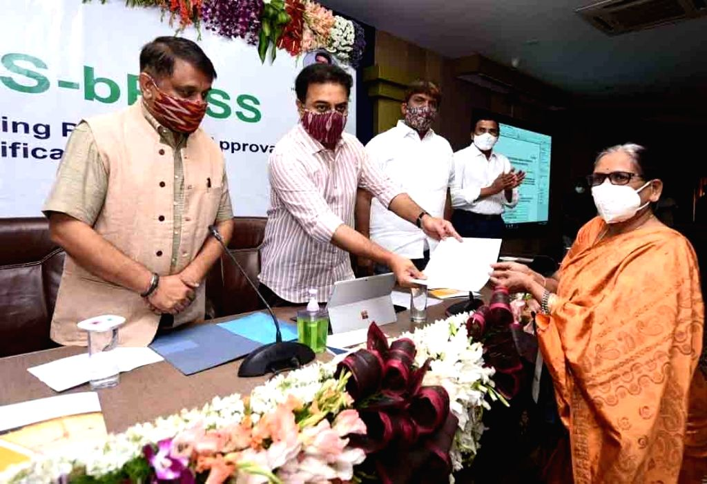 Telangana Municipal Administration and Urban Development Minister KT Rama Rao at the launch of the TS-bPASS website for issuing building and layout permissions at Marri Channa Reddy Human ... - K and Rao