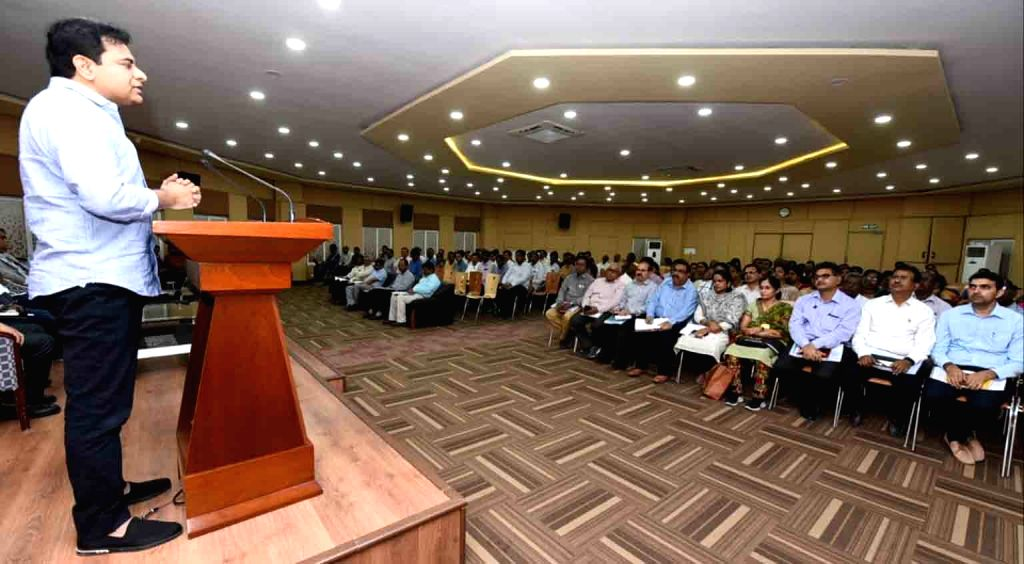 Telangana Municipal Administration and Urban Development Minister K T Rama Rao addresses Municipal Corporation Commissioners and Town Planning officers at the MCR HRD Institute, in ... - K T Rama Rao