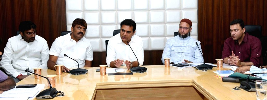 Telangana Municipal Administration and Urban Development Minister KT Rama Rao presides over a meeting to review steps being taken to contain COVID-19 (cornavirus), in Hyderabad on March ... - Lokesh Kumar and Rao