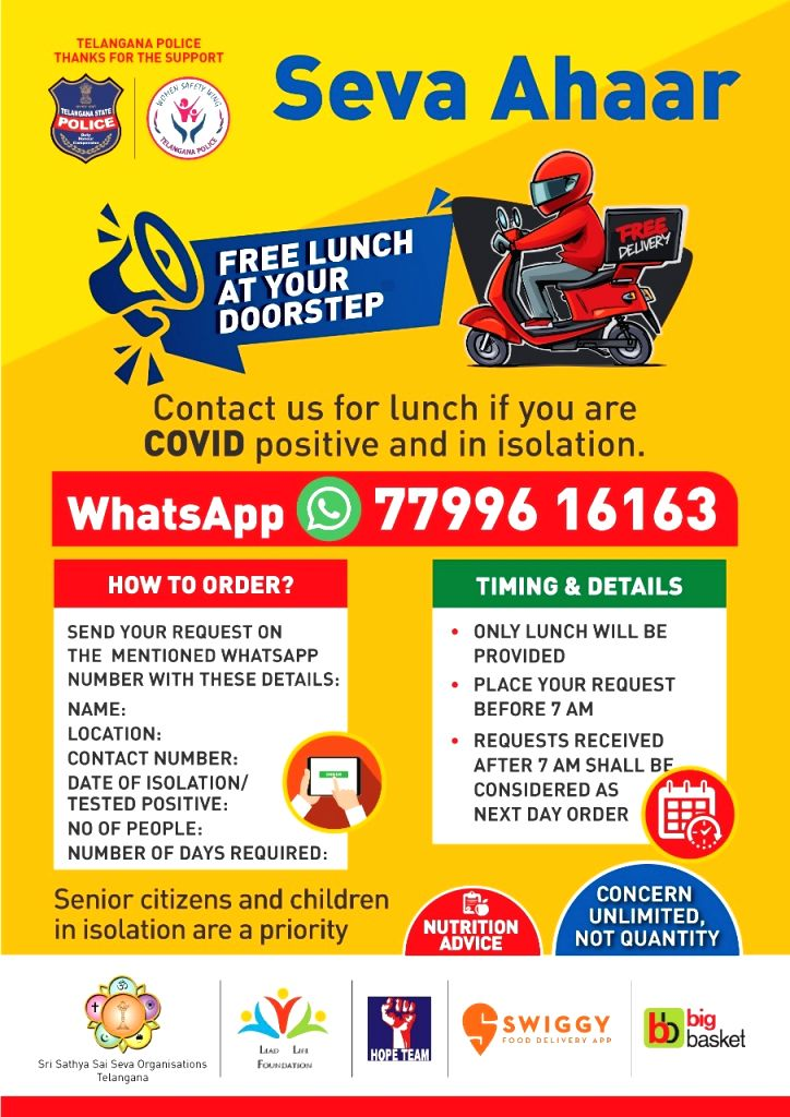 Telangana police launches free lunch service for Covid patientsi