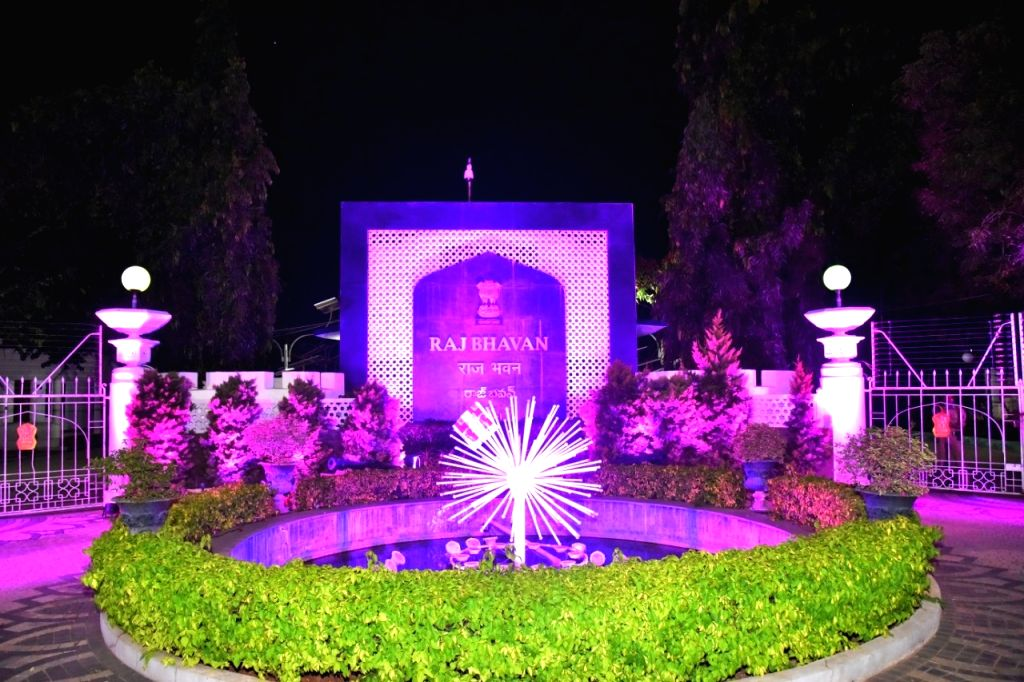 Telangana Raj Bhavan lit up in pink for breast cancer awareness.