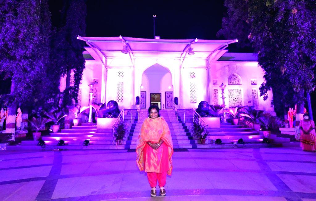 Telangana Raj Bhavan lit up in pink for breast cancer awareness.