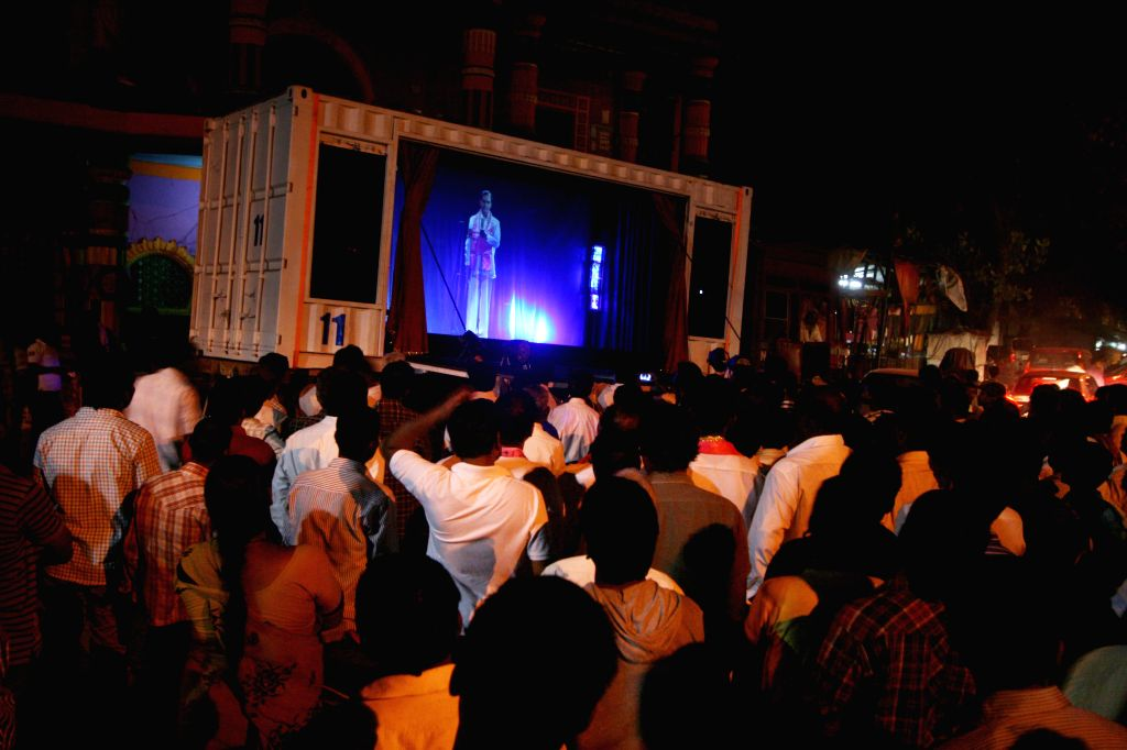 Telangana Rashtra Samithi (TRS) chief K Chandersheker Rao addresses public using 3D Hologram technique in various districts of Andhra Pradesh. - K Chandersheker Rao
