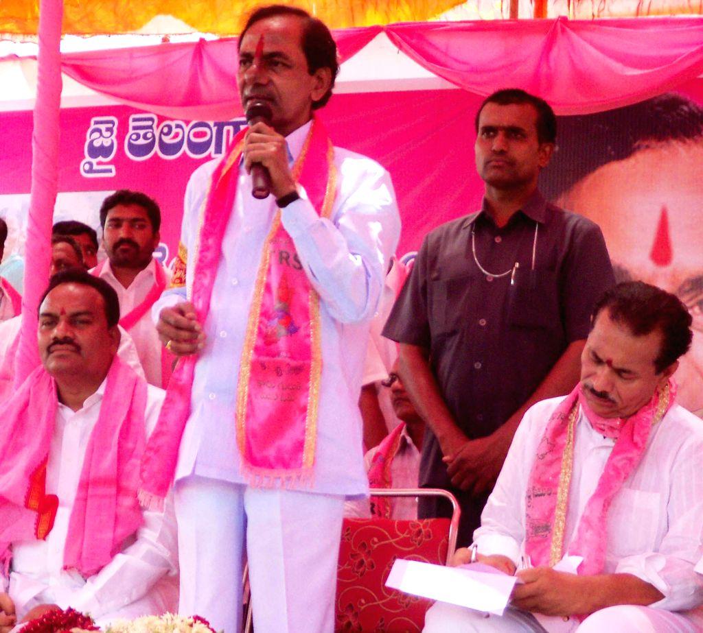 Telangana Rashtra Samithi (TRS) chief K Chandersheker Rao addresses a public meeting at Bansa in Adilabad of Andhra Pradesh on April 20, 2014.
