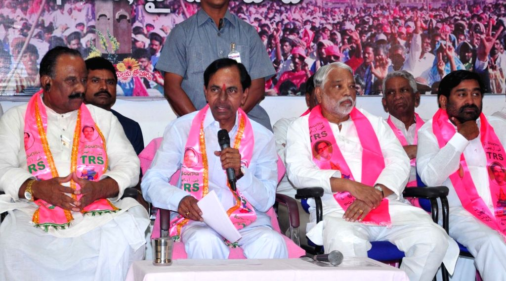 Telangana Rashtra Samithi (TRS) chief K Chandrasekhar Rao addresses during a programme organised to celebrate party's performance in the recently concluded Warangal parliament by-elections ... - K Chandrasekhar Rao