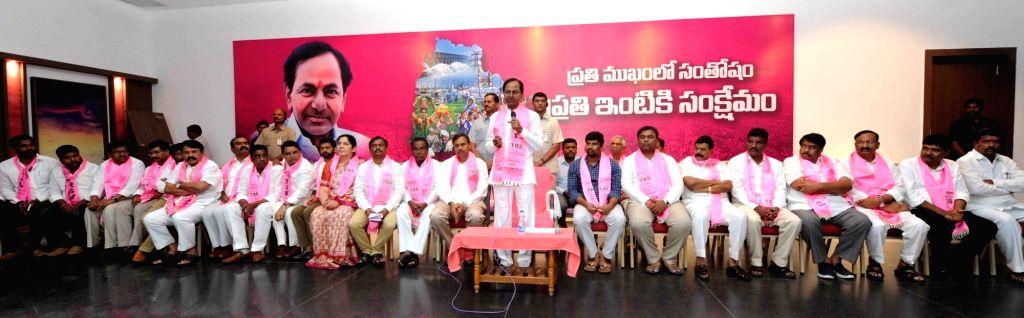 Telangana Rashtra Samithi (TRS) chief K Chandrasekhar Rao addresses a party meeting in Hyderabad on Oct 10, 2017. - K Chandrasekhar Rao