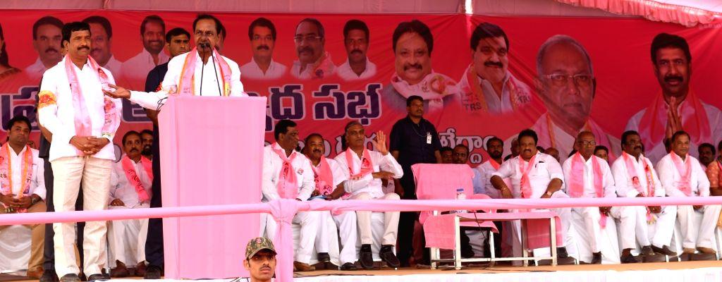 Telangana Rashtra Samithi (TRS) chief K Chandrasekhar Rao addresses a party rally at Kodangal in Mahbubnagar District of Telangana on Dec 4, 2018. - K Chandrasekhar Rao