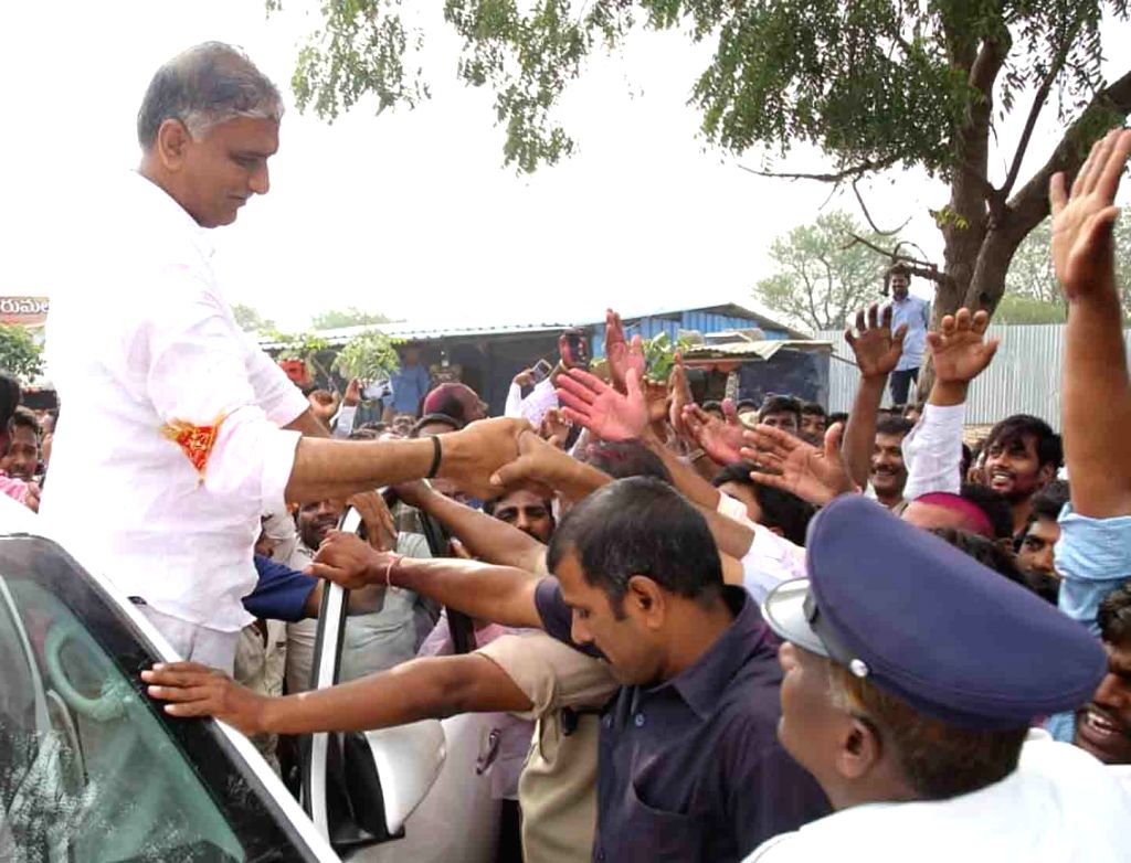 Telangana Rashtra Samithi (TRS) leader and the state cabinet minister T. Harish Rao celebrates after winning from the Siddipet constituency in the recently concluded Telangana Assembly ... - T. Harish Rao
