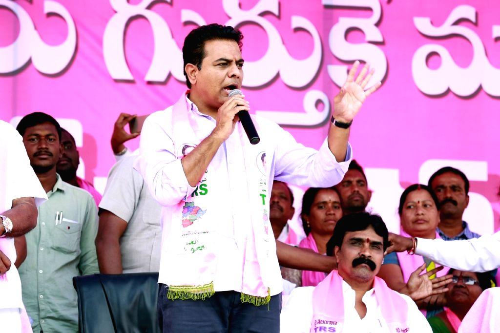 Telangana Rashtra Samithi (TRS) leader K.T. Rama Rao addresses a party rally ahead of Telangana assembly polls in Utnoor of Adilabad district on Dec 3, 2018. - T. Rama Rao