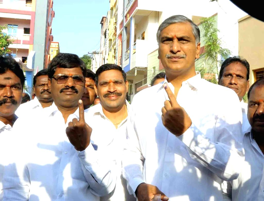 Telangana Rashtra Samithi (TRS) leader T. Harish Rao shows his fore finger marked with indelible ink after casting vote during the first phase of Lok Sabha election, in Hyderabad, on April ... - T. Harish Rao
