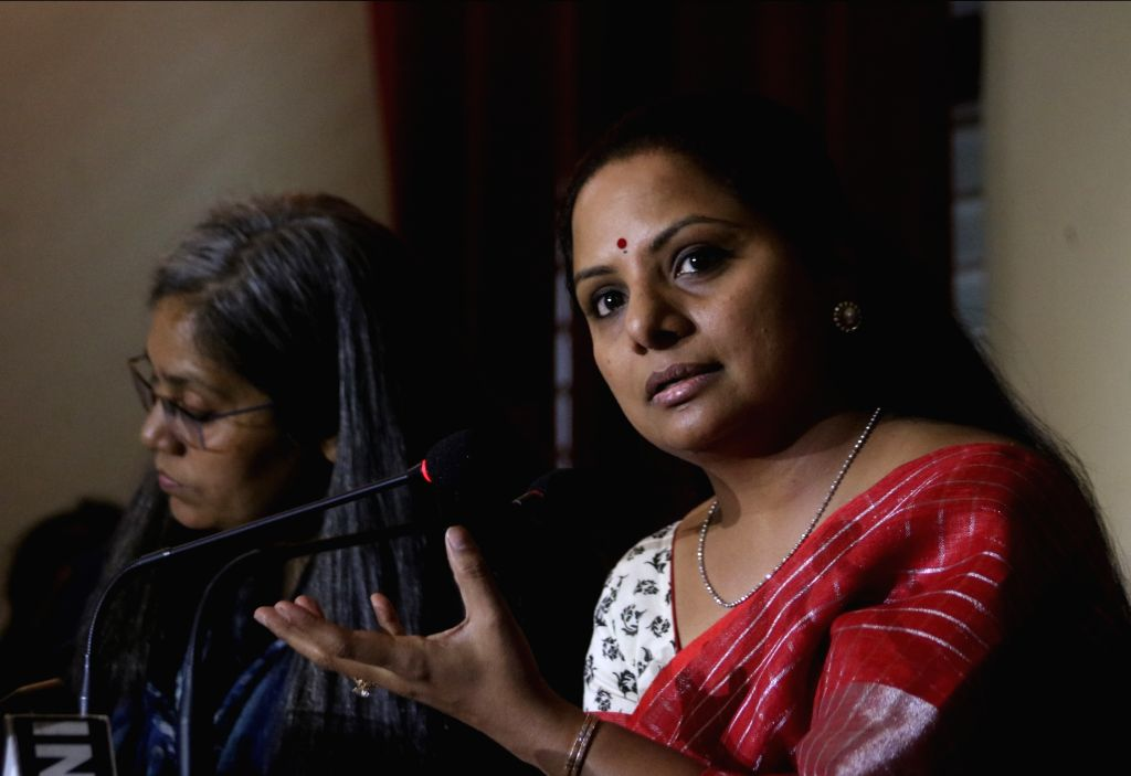 Telangana Rashtra Samithi (TRS) MP K. Kavitha addresses a press conference at Indian Women's Press Club, in New Delhi on May 22, 2018.