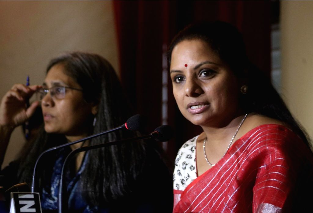 Telangana Rashtra Samithi (TRS) MP K. Kavitha addresses a press conference at ​Indian Women's Press Corps (IWPC), in New Delhi on May 22, 2018.