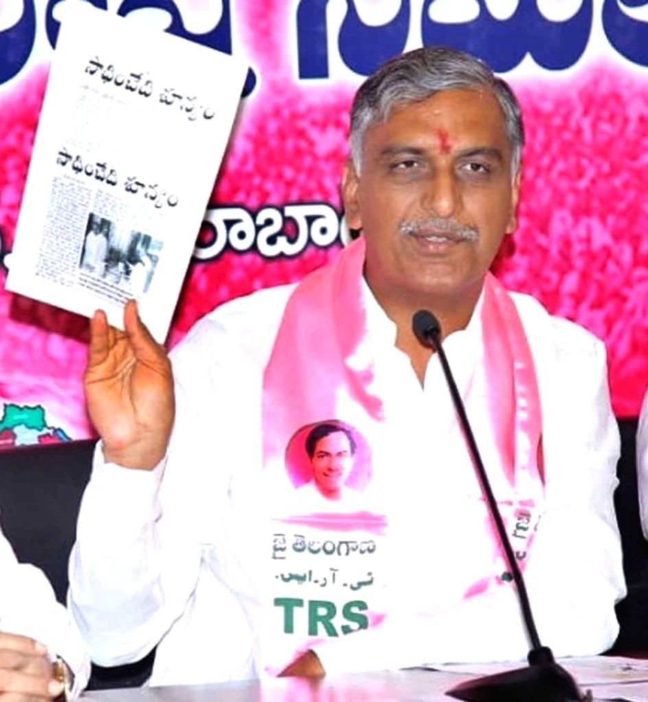 Telangana Rashtra Samithi (TRS) T Harish Rao addresses a press conference in Hyderabad on Dec 3, 2018. - T Harish Rao