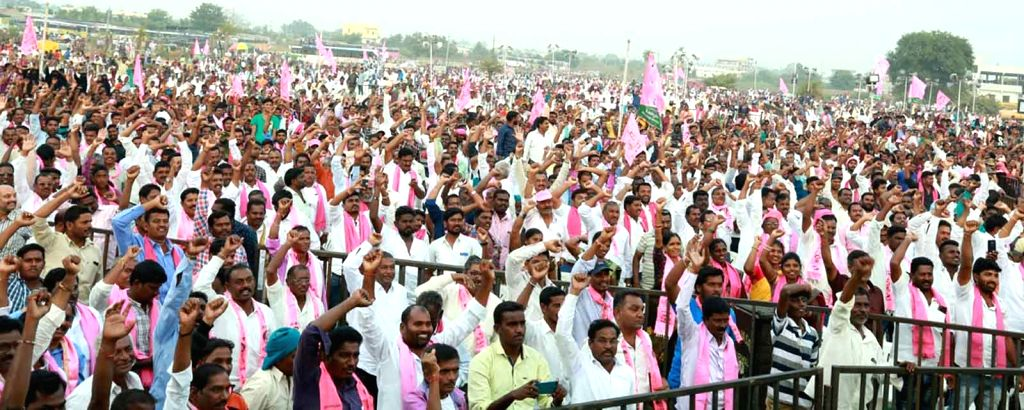 Telangana Rashtra Samithi (TRS) workers participate in a party rally addressed by K.T. Rama Rao in Utnoor of Adilabad district on Dec 3, 2018. - T. Rama Rao