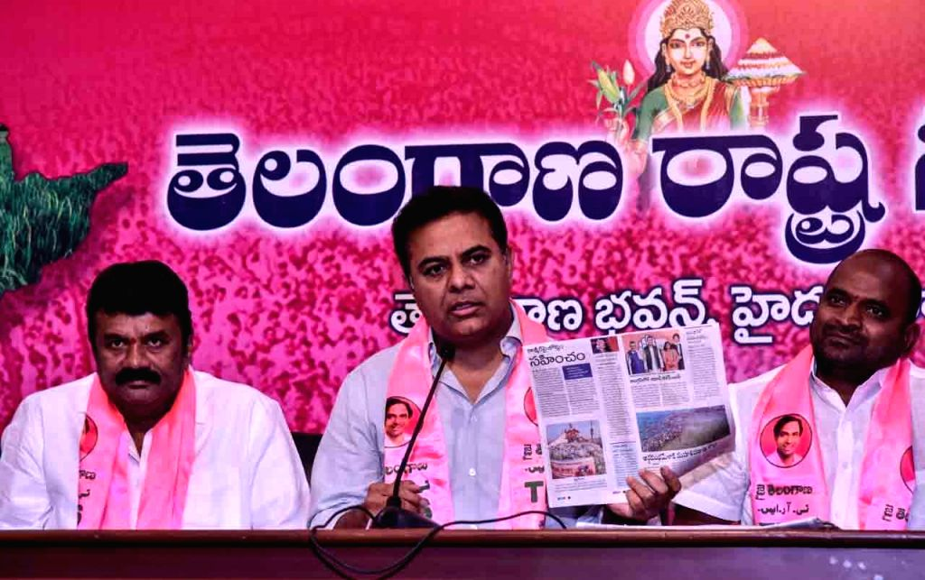Telangana Rashtra Samithi (TRS) working president KT Rama Rao addresses a press conference in Hyderabad on March 4, 2019. - Rao