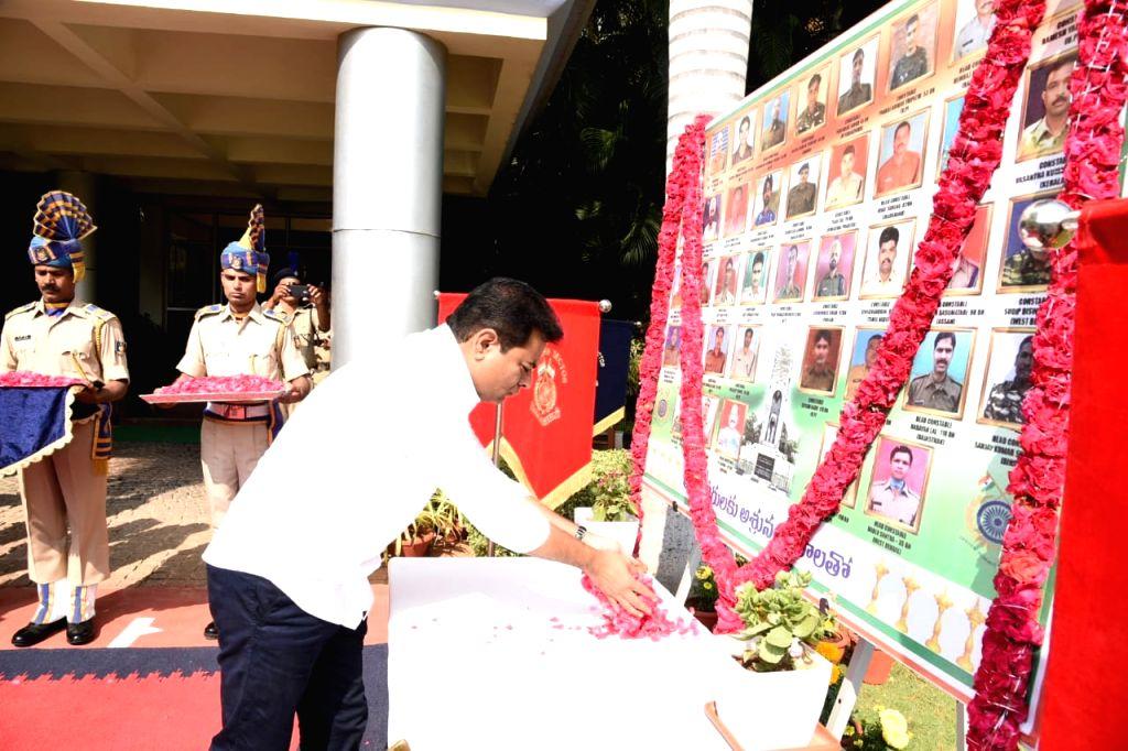 Telangana Rashtra Samithi (TRS) working President K.T. Rama Rao pays tributes to the Pulwama martyrs at the CRPF Headquarters, in Hyderabad, on Feb 17, 2019. - T. Rama Rao