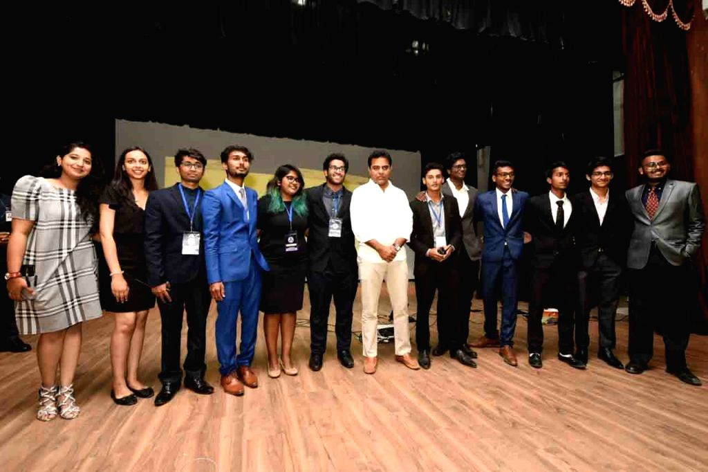 Telangana Rashtra Samithi (TRS) Working President K.T. Rama Rao with students during 'Keymakers Youth Summit 2019' at Dr BR Ambedkar Open University in Hyderabad, on March 10, 2019. - T. Rama Rao