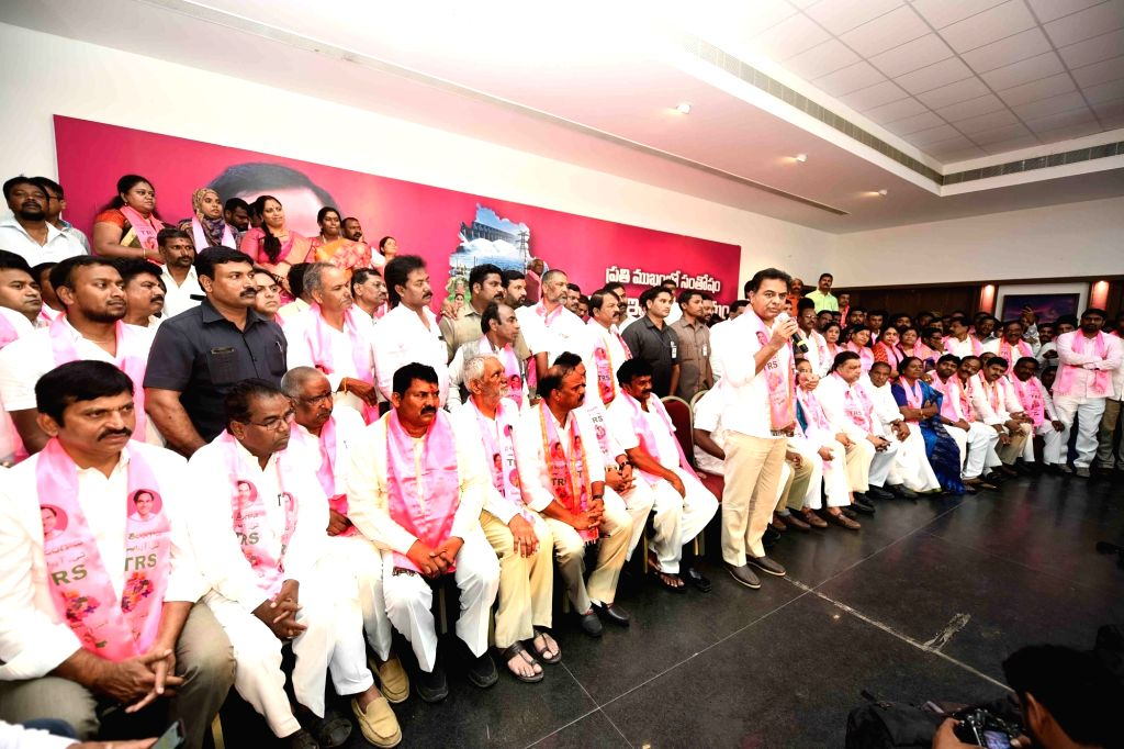 Telangana Rashtra Samithi (TRS) Working President K. T. Rama Rao addresses party workers during the party's foundation day celebrations, in Hyderabad on April 27, 2019.