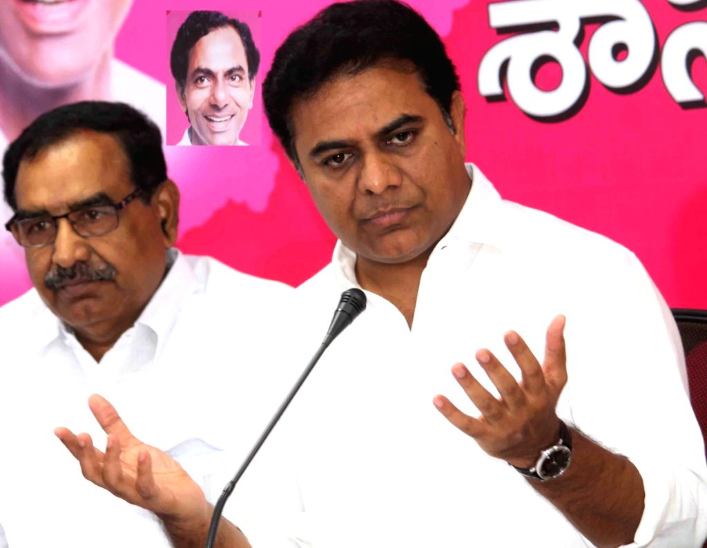 Telangana's Information Technology Minister KT Rama Rao addresses a press conference in Hyderabad on March 14, 2017. - K and Rao