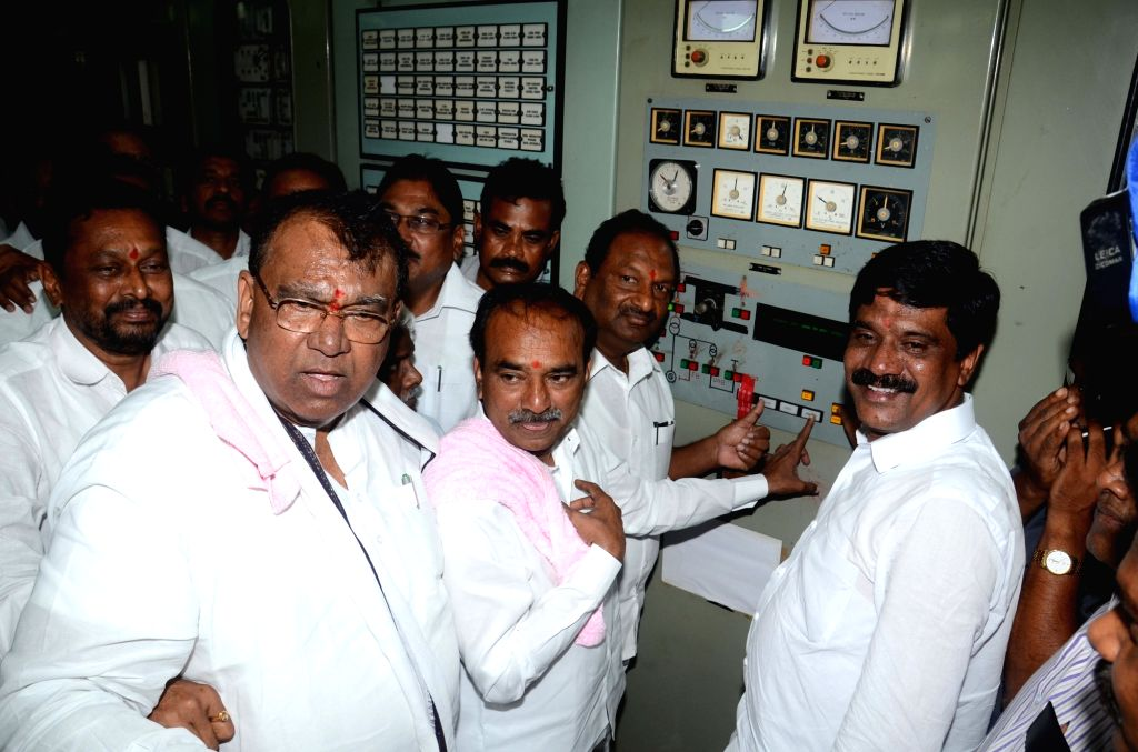 Telangana State Finance Minister E Rajender release water to Kakatiya canal from SRSP in Nizamabad district of Telangana on Aug 3, 2016. - E Rajender