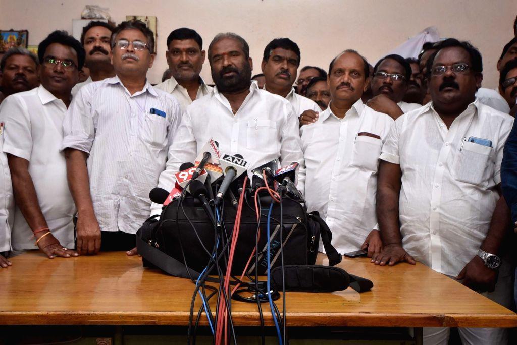 Telangana State Road Transport Corporation (TSRTC) employees Joint Action Committee (JAC) convenor Ashwathama Reddy addresses striking TSRTC employees, in Hyderabad on Oct 25, 2019. - Ashwathama Reddy