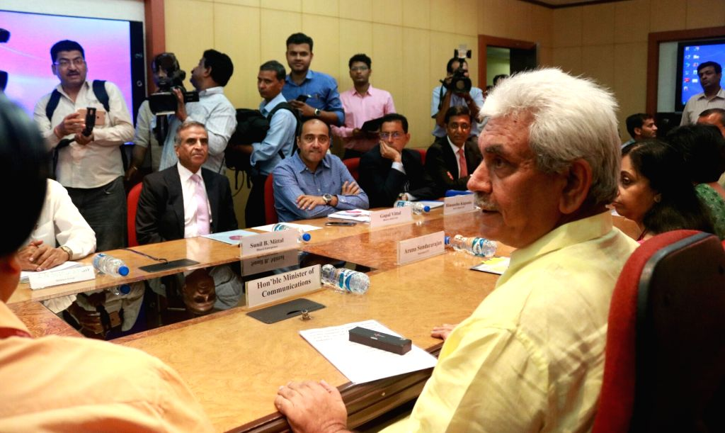Telecom Minister Manoj Sinha during a metting with telecom players regarding financial difficulties faced by the sector in New Delhi on June 22, 2017. - Manoj Sinha