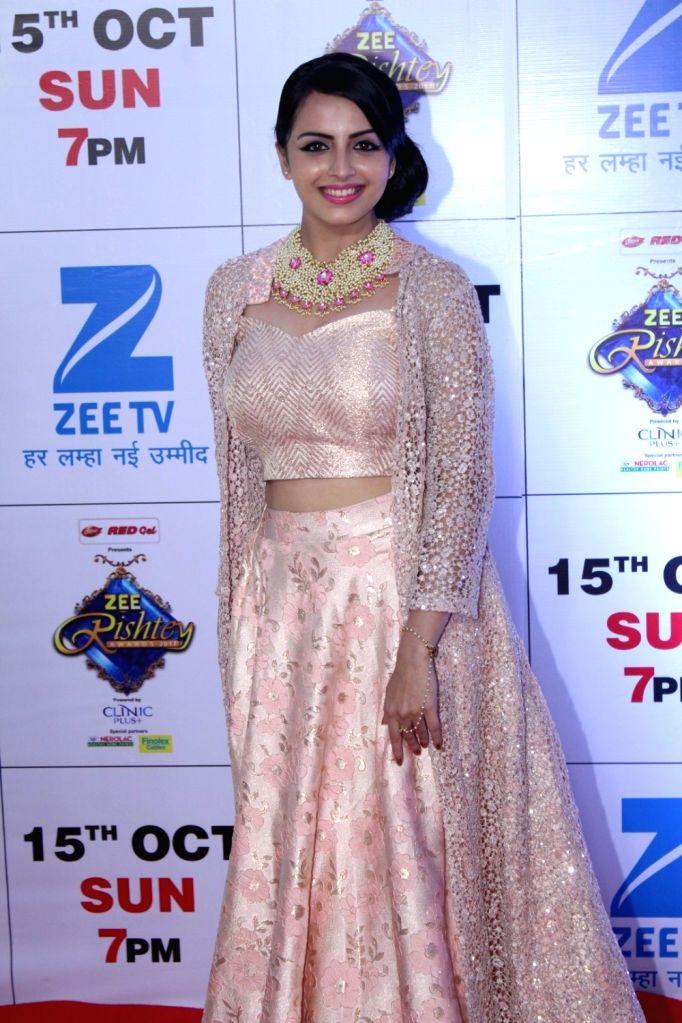"Telelvision actress Shrenu Parikh during the red carpet of the grand celebration of ""Zee Rishtey Awards"" 2017 in Mumbai on Sept 10, 2017. - Shrenu Parikh"