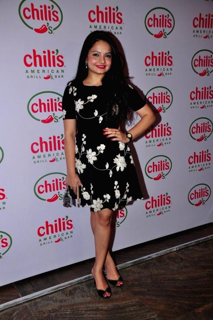 Television actor Giaa Manek during the 1st wedding anniversary party of Ruslaan Mumtaz and Nirali at the Chili`s American Grill and Bar, in Mumbai on Nov 15, 2015. - Giaa Manek