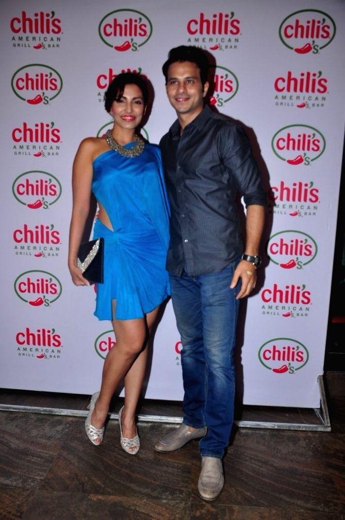 Television actor Navina Bole during the 1st wedding anniversary party of Ruslaan Mumtaz and Nirali at the Chili`s American Grill and Bar, in Mumbai on Nov 15, 2015. - Navina Bole
