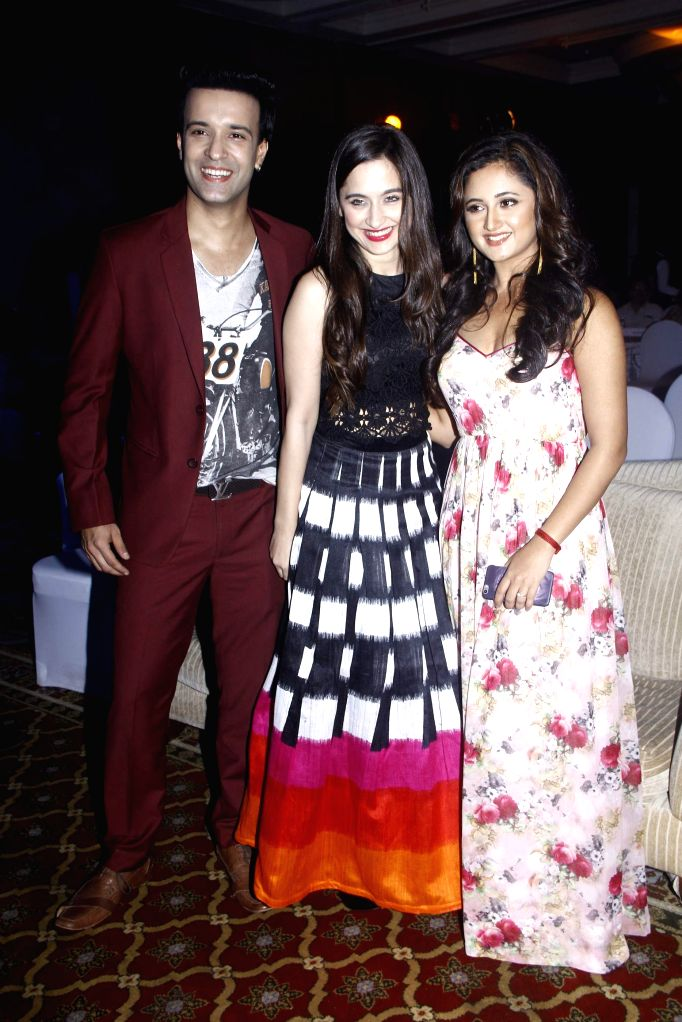 Television actors Aamir Ali, Sajida Ali and Rashmi Desai during the 25 years celebration of G.V Films and launch of its new website, in Mumbai on Aug 01, 2015. - Aamir Ali, Sajida Ali and Rashmi Desai
