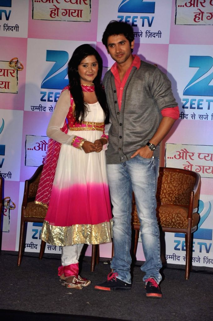 Television actors Kanchi Singh and Mishkat Varma during the press conference of Zee TV's new show, Aur Pyaar Ho Gaya in Mumbai on December 20, 2013. - Kanchi Singh and Mishkat Varma