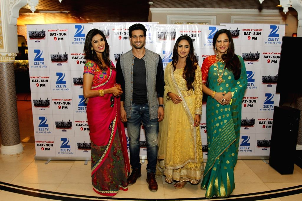 Television actors Kishwer Merchantt, Aham Sharma, Krystle D'souza and Rakshanda Khan during the media interaction of Zee TV new show Brahmarakshas in Mumbai, on July 29, 2016. - Kishwer Merchantt, Aham Sharma, Krystle and Rakshanda Khan