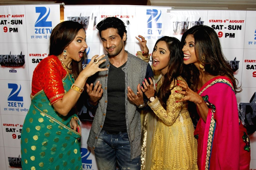 Television actors Rakshanda Khan, Aham Sharma, Krystle D'souza and Kishwer Merchantt during the media interaction of Zee TV new show Brahmarakshas in Mumbai, on July 29, 2016. - Rakshanda Khan, Aham Sharma and Krystle