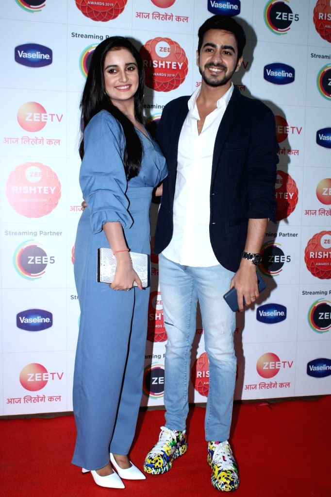 "Television actors Sambhabana Mohanty and Jatin Arora during the red carpet of the grand celebration of ""Zee Rishtey Awards"" 2019 in Mumbai on Nov 16, 2019. - Sambhabana Mohanty and Jatin Arora"